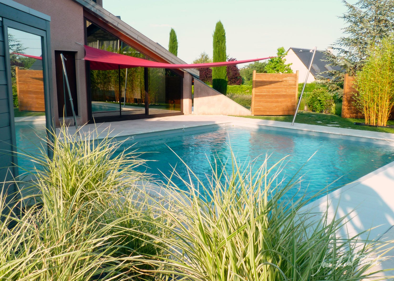 Voile d'ombrage et piscine